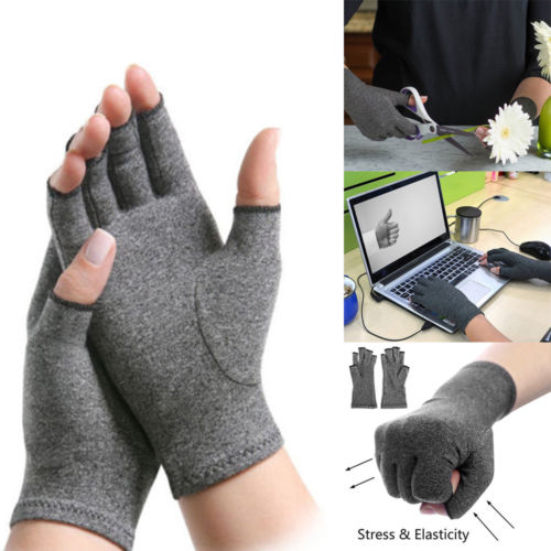 A Pair Copper Compression Gloves Carpal Arthritis Joint Pain Promote Circulation Comfortable Fingerless Flexible Gloves