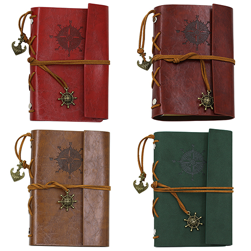 Retro Vintage Anchor Faux Leather Cover Hardcover Notebook Journal Traveler Book Diary Blank String Sketchbook ootdty vintage classic journal notebook diary sketchbook thick blank page leather cover 1 pcs