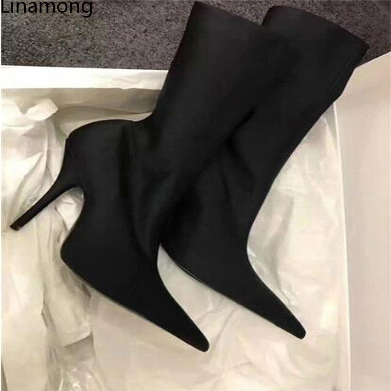 High quality Newest women Silk Slip-On Mid-Calf boots sexy club women boots Thin Heels shoes sexy women spring slip on spike heels mid calf genuine leather half boots