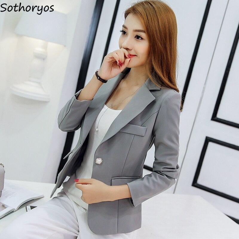Пиджаки для женщин для простой сплошной элегантный тонкий высокое качество дамы мода 2019 корейский стиль для отдыха зубчатый