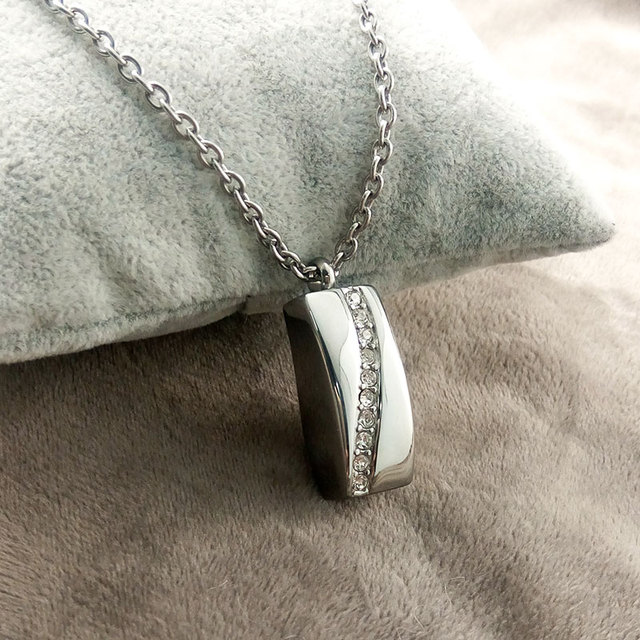 Stainless Steel Crystal Necklace Memorial Cremation Ashes Urn