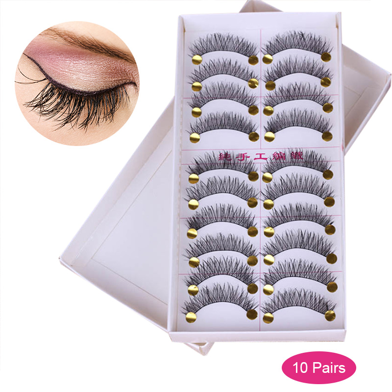 10 Pairs Eyes Extension False Eyelash Makeup Handmade Natural Long False Eyelashes Eye Lashes Thick Party Make Up Tool H7JP