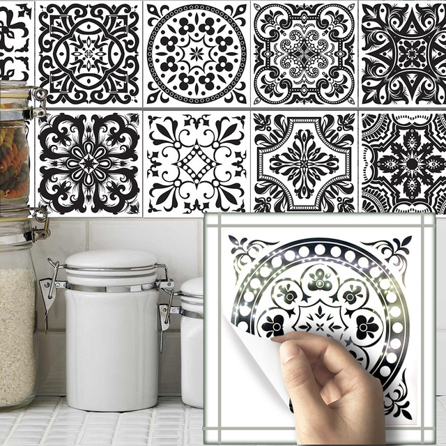 10pcs Set 20 20cm Vintage Self Adhesive Tile Stickers Pvc Wall Decals Diy