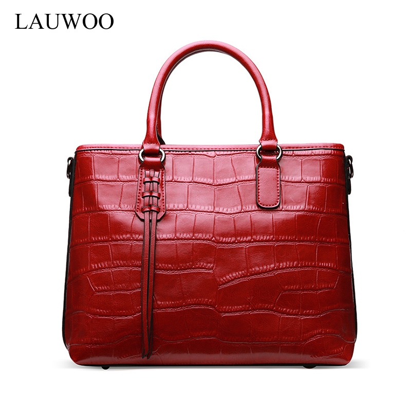 цены  LAUWOO fashion women luxury brand handbag Female Crocodile prints genuine Leather shoulder bag lady Elegant tassels tote bags
