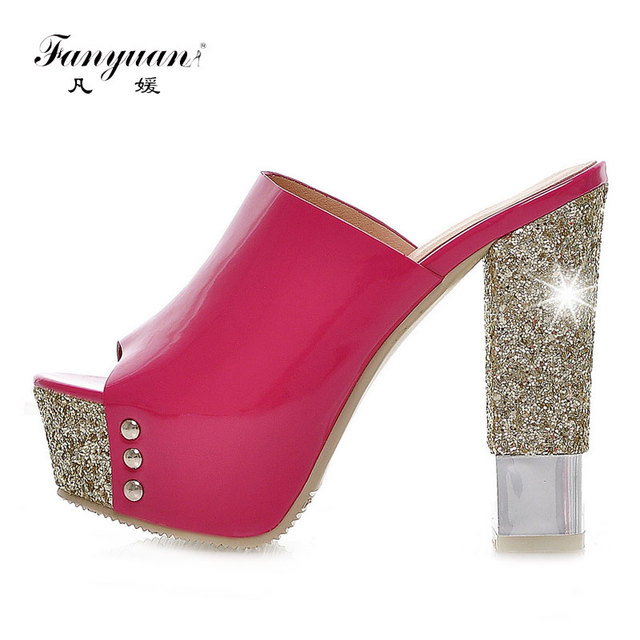 Fanyuan Toe Verano Sandalias Tacón Abierto Mujer On Plataforma De Slip Toboganes Zapatos Mules Brillo Señoras Bloque Alto TKcuF1J3l