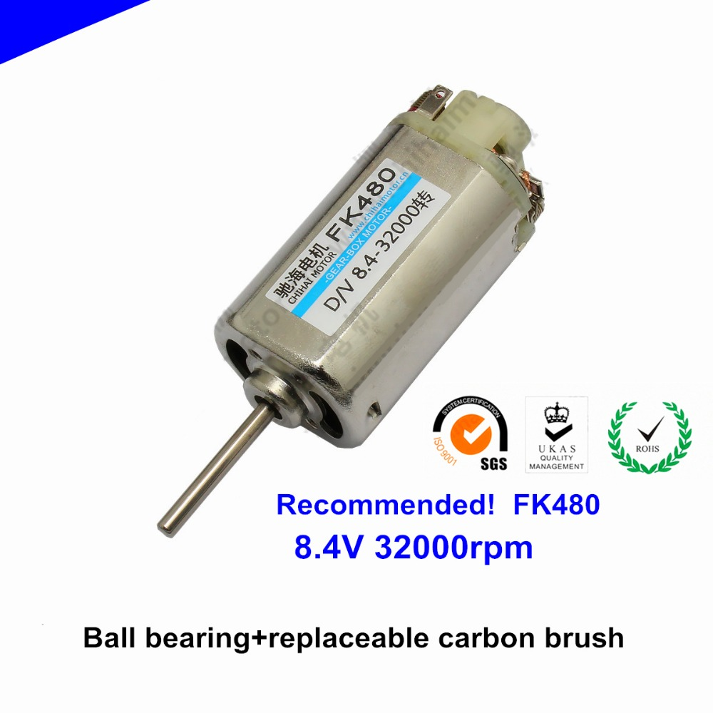 Recommended FK480 high speed DC motor 8.4V 32000rpm Ball bearing replaceable carbon brush model airplane Racing motor image