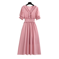 Plus Size Midi Wrap Prom Little Party Dress Design 2019 For Women Pink And Blue Ruffle V Neck Puff sleeve Solid Romper Dress
