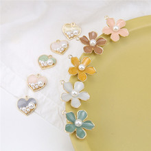 6pcs korean alloy drop oil temperament pearl earrings flowers love statement for women material diy jewelry accessories