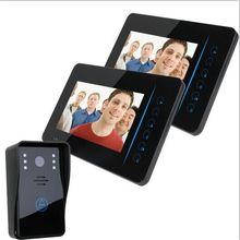 FREE SHIPPING 7″ TFT 2.4G Wireless Video Door Phone Intercom Doorbell Home Security 1 Camera 2 Monitor