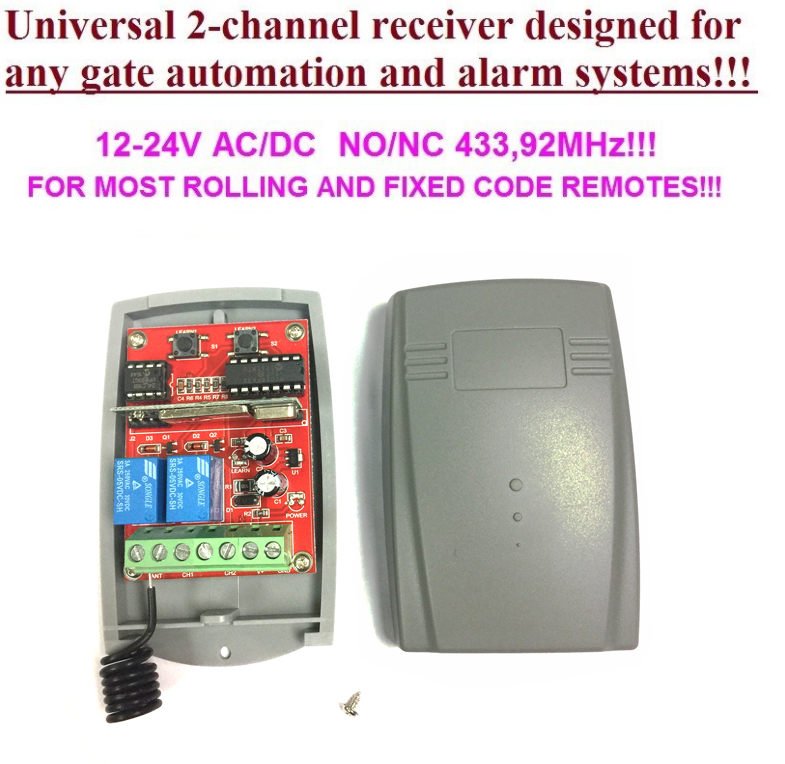 Universal 2 channel Wireless Garage Door 433MHZ DC12V/24V Rolling Code Receiver 2pcs universal 2 channel wireless garage