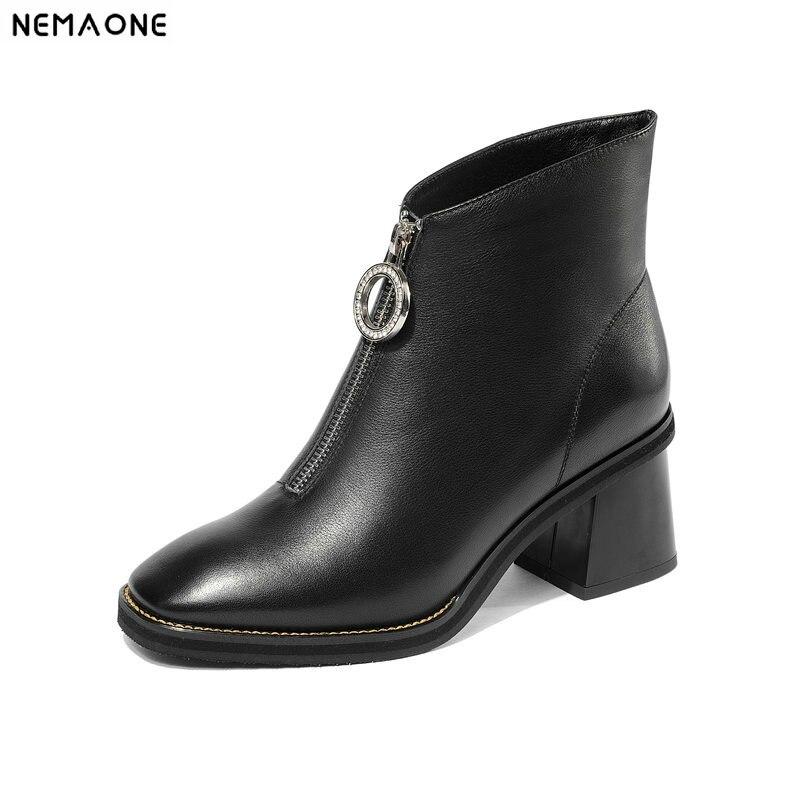 Botines Nemaone Cuero Otoño Altos Nueva Mujer Invierno Genuino Top Negro High Tacones De Zapatos Básica Botas 4r4PpwTq