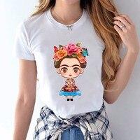 NEW Hot Sale Cartoon Mexican Frida Kahlo T Shirt Short Sleeve Women T-shirt Novelty Tee Frida Kahlo Printed Casual Shirts