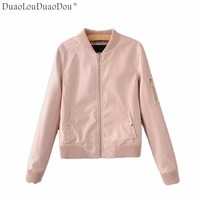 DuaoLouDuaoDou Autumn Winter women coat Slim was thin female motorcycle jacket PU leather outerwear fashion Female overcoat