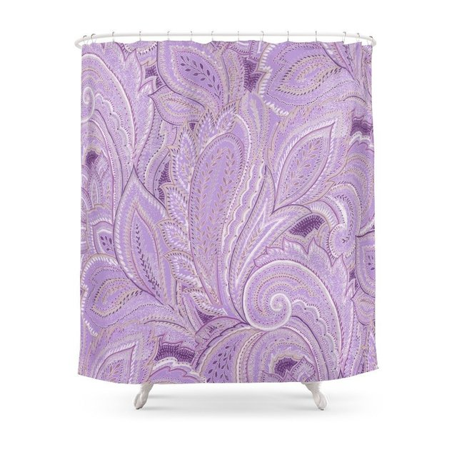 Paisley Purple Shower Curtain Waterproof Polyester Fabric Bathroom Decor Multi Size Printed With 12 Hooks