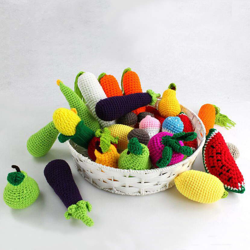 Kids Photography PropsStudio Fruit Photo Children Knitting Toys Simulation Fruits Vegetables 1pcs Baby Photo Props Accessories