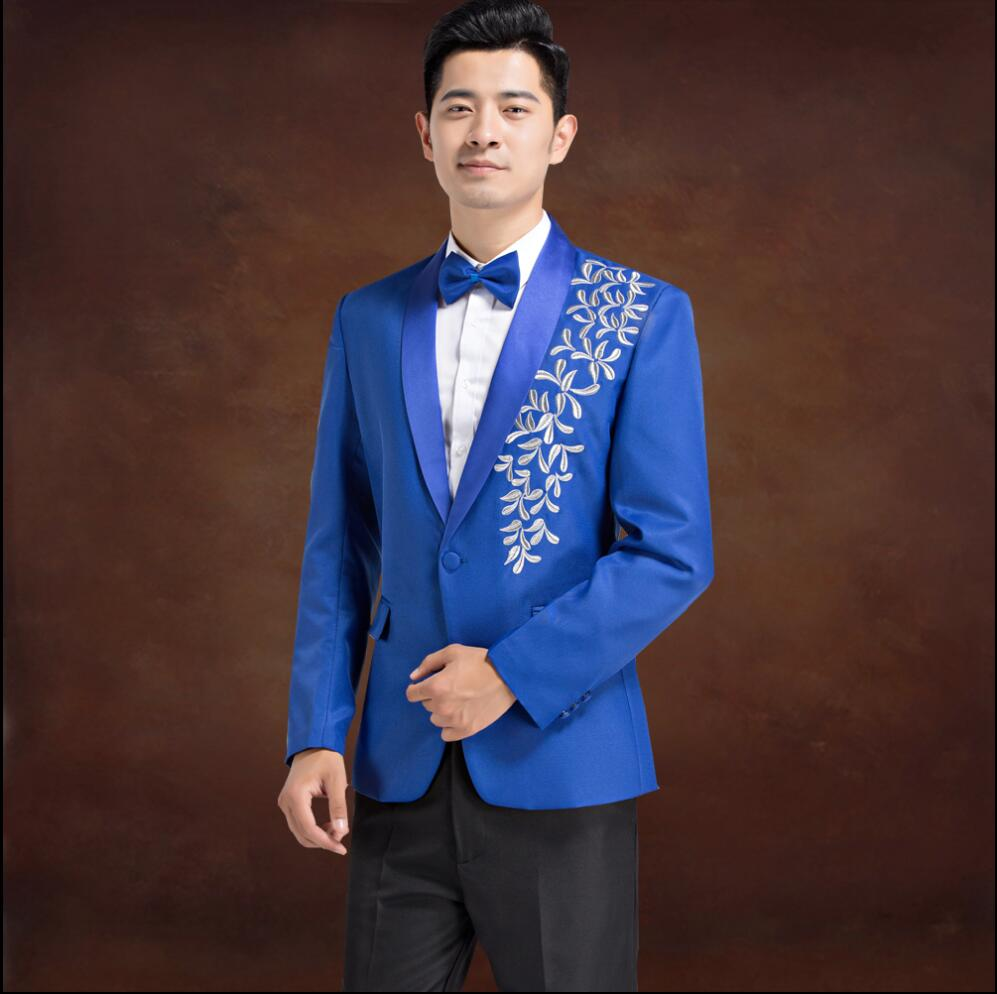 NEW ! Men\'s embroidered formal dress groom married suits host chorus ...