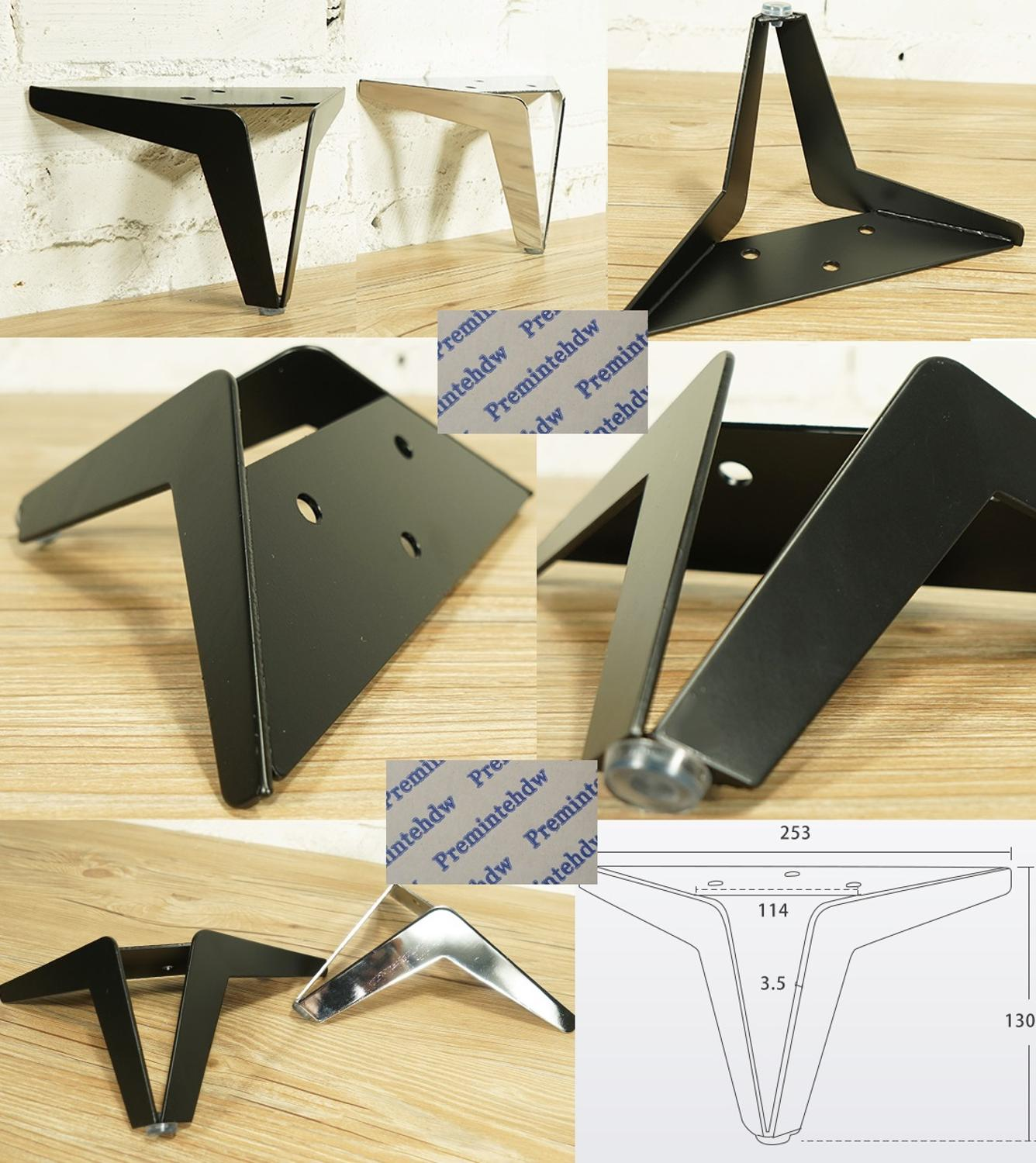 2Pcs/Lot H13CM Matte Black Shiny Silver European Hollow Out Welded Sofa Seat Couch Coffee Tea TV Cupboard Cabinet Feet Leg