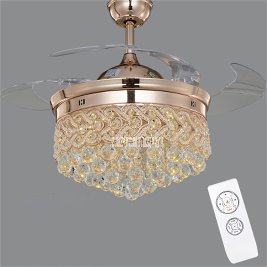 sya0 modern led chrome crystal ceiling fan bedroom living