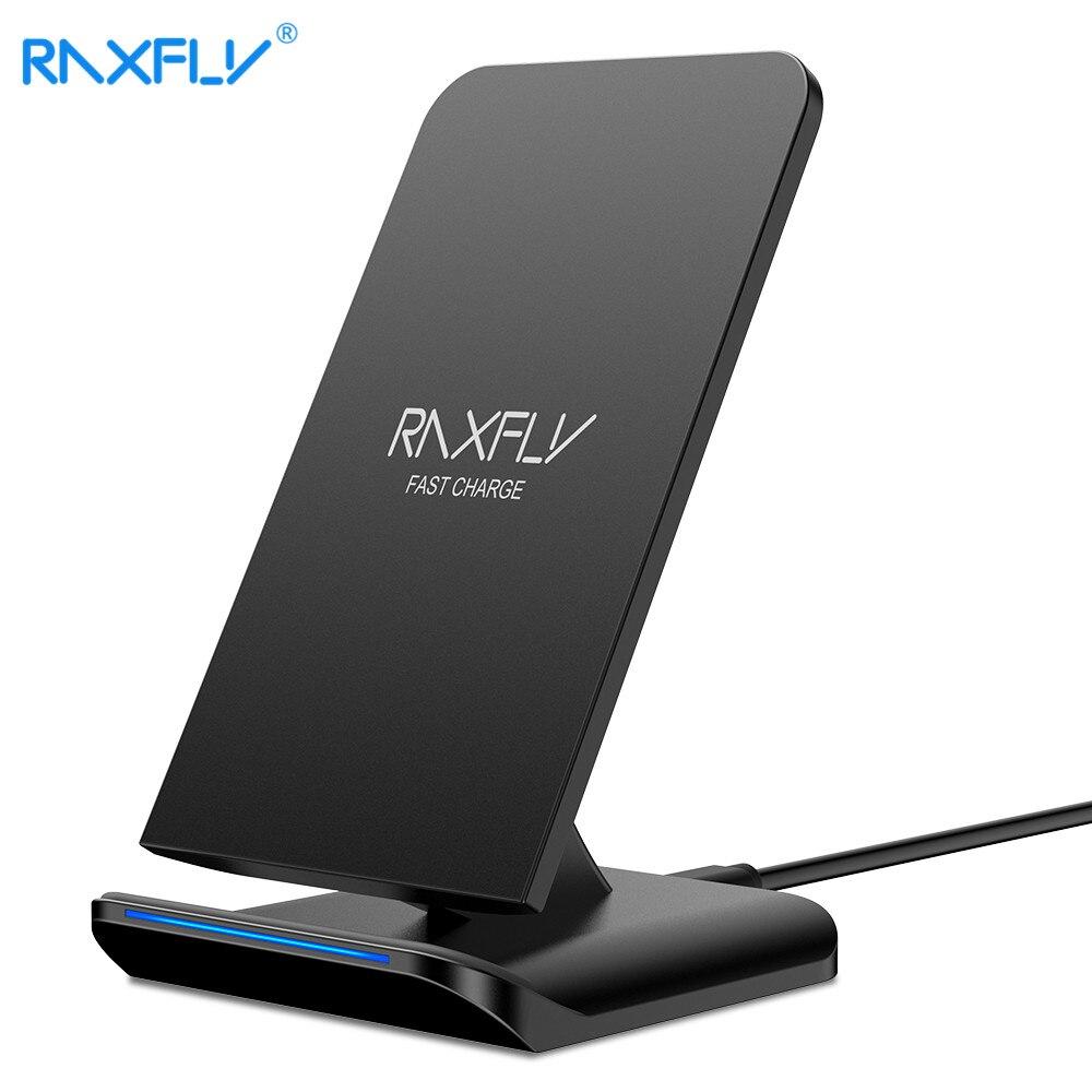 RAXFLY cargador inalámbrico para iPhone XS Max XR XS X 8 10 W Qi cargador rápido para Samsung S9 S8 más S7 S6 Nota 9 8 carga rápida Pad