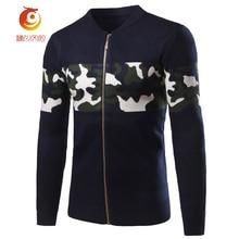Slim Navy Blue Zipper Sweater Men Cotton Stand Collar Fashion Long – Sleeve Sweater Cardigan Jacket Camouflage Pattern Stitching