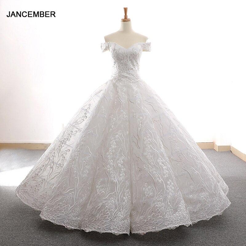 J66600 Jancember Swollen Wedding Dresses Like White Off The Shoulder V-neck Floor Length Appliques Vestidos De Novia Morados