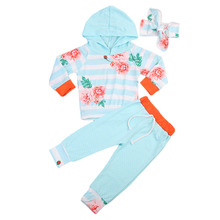 3 Pcs Babies Long Sleeve Hooded Clothing Set Toddler Infant Baby Girls Floral Tops Hoodie Striped Top+Pants Outfits Clothes 2019 floral striped raglan sleeve top