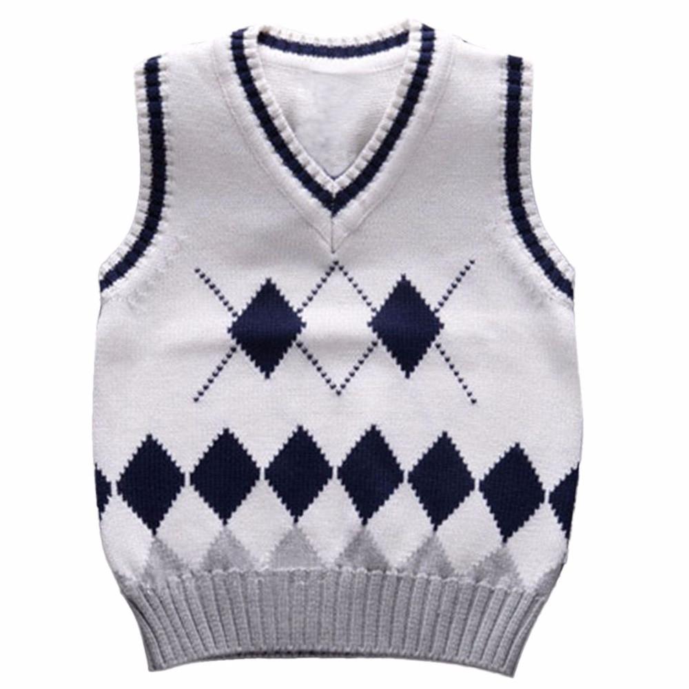 2-6 Jahre Baby Jungen Gestrickte Weste Kinder Strickjacke Schule Uniformen Stil V-ausschnitt Strick Pullover Weste Herbst Kinder Pullover