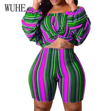 WUHE Two Pieces Sets Off Shoulder Puff Sleeve Jumpsuits Women Vintage Skinny Playsuits Elegant Hollow Out Retro Club Overalls