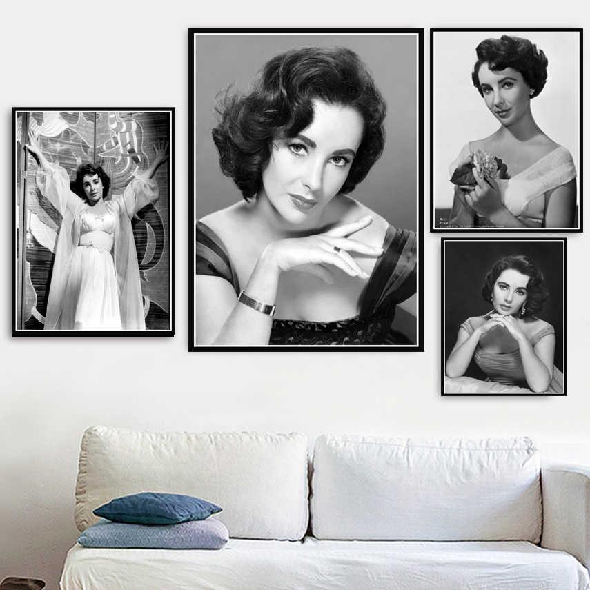 المشارك و يطبع حار اليزابيث تايلور الفيلم الممثلة ستار نموذج قماش الفن جدارها صور لغرفة المعيشة ديكور المنزل