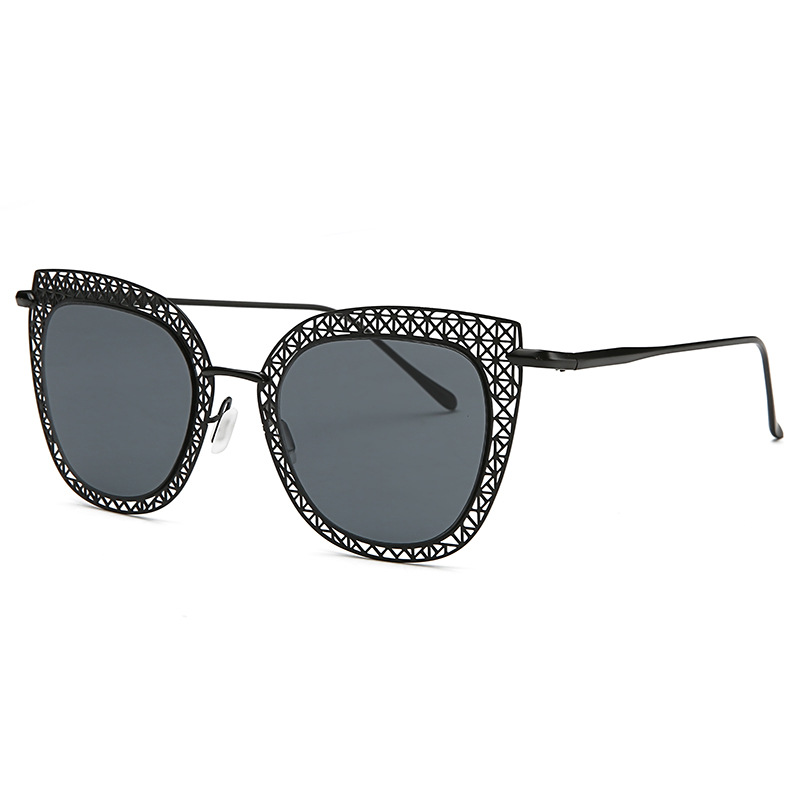 Soulmate Sunglasses Store Fashion Cat Eye Women Sunglasses Brand Designer Alloy Hollow Metal Frame Glasses Vintage Square Sunglasses Goggle Eyewear 2856