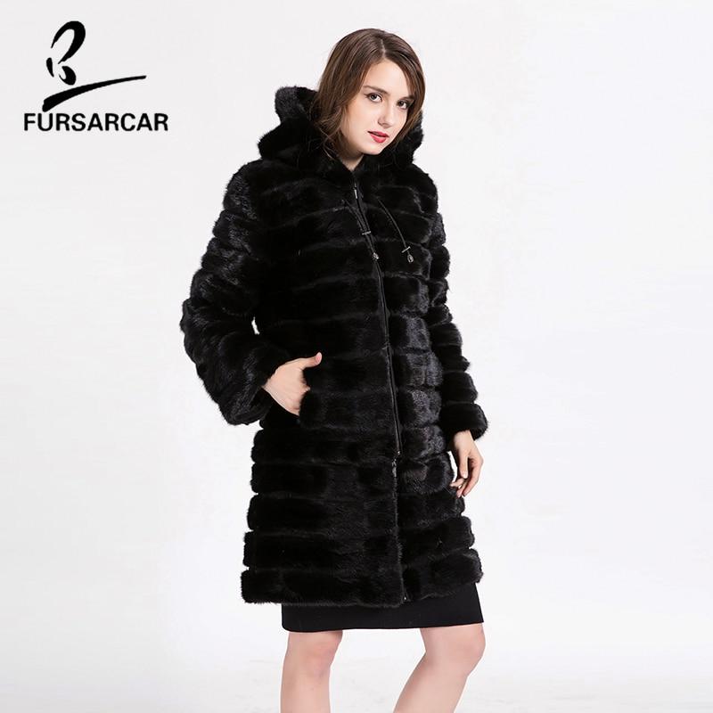 FURSARCAR Long Mink Fur Coat High Quality Detachable Real Women Natural Mink Fur Coat Thick Warm With Fur Hat Long Jacket Coat fur contrast color men s cotton coat with hat