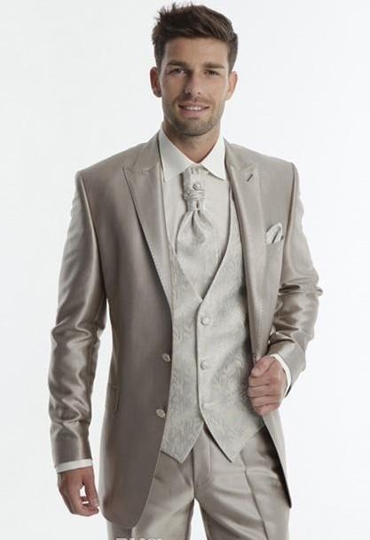 Custom Made Groom Tuxedos Wedding Peak Lapel Men's Suit Champagne Groomsman/Bridegroom Wedding/Prom Men Suits (Jacket+Pants