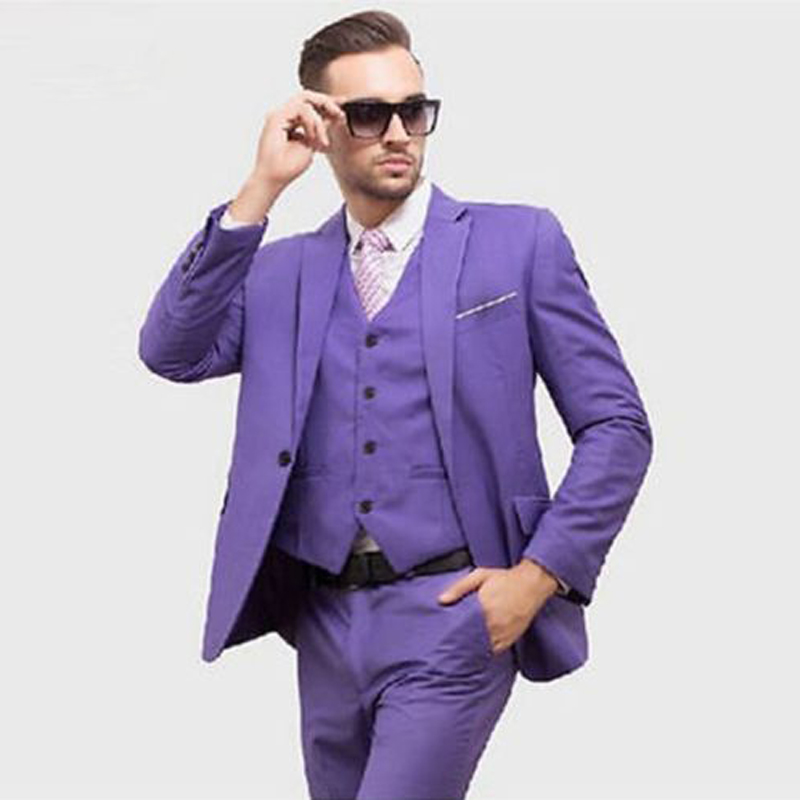 Costume Homme Mariage Custom Made Purple 3 Piece Tuxedo Wedding Suits Groom Suits Formal Party Suits