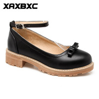 XAXBXC 2018 Spring Retro British Style Brogues Butterfly Knot Buckle Strap Women Shoes Large Size Handmade