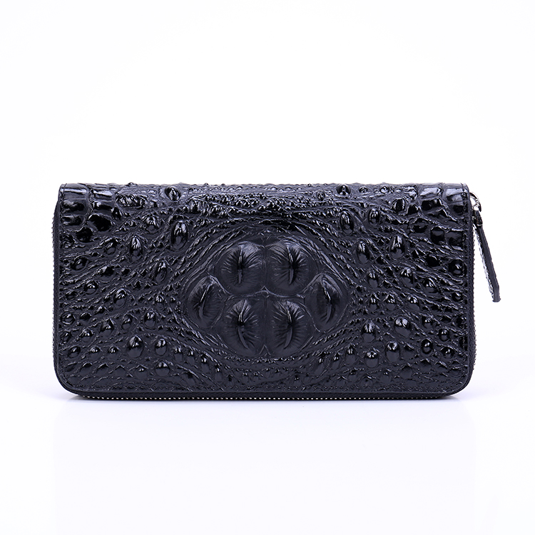 2019 femmes en cuir véritable fermeture à glissière sac Alligator peau de vache portefeuille porte monnaie porte cartes pochette longue violet portefeuilles monnaie poche - 2