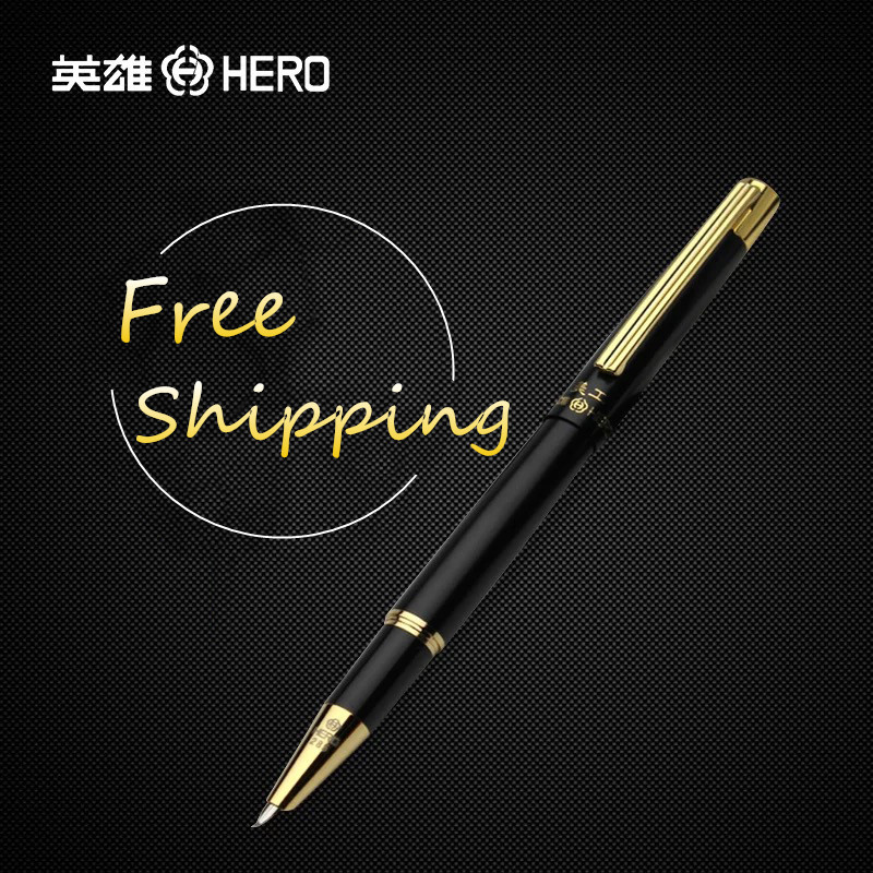 Metal Design Fountain Pen for Drawing/Sketch/Signature/Cartoon Hero 285 Black Gold Fountain Pens Calligraphy Curved Nib Art Pen fountain pen curved nib or straight nib to choose hero 6055 office and school calligraphy art pens free shipping