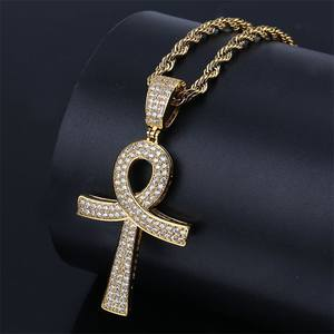 Hip Hop Ankh Cross Pendant Necklace Gold Silver Color Iced Out CZ Stone Men Gold Twisted Chain Egyptian Cross for Men Jewelry
