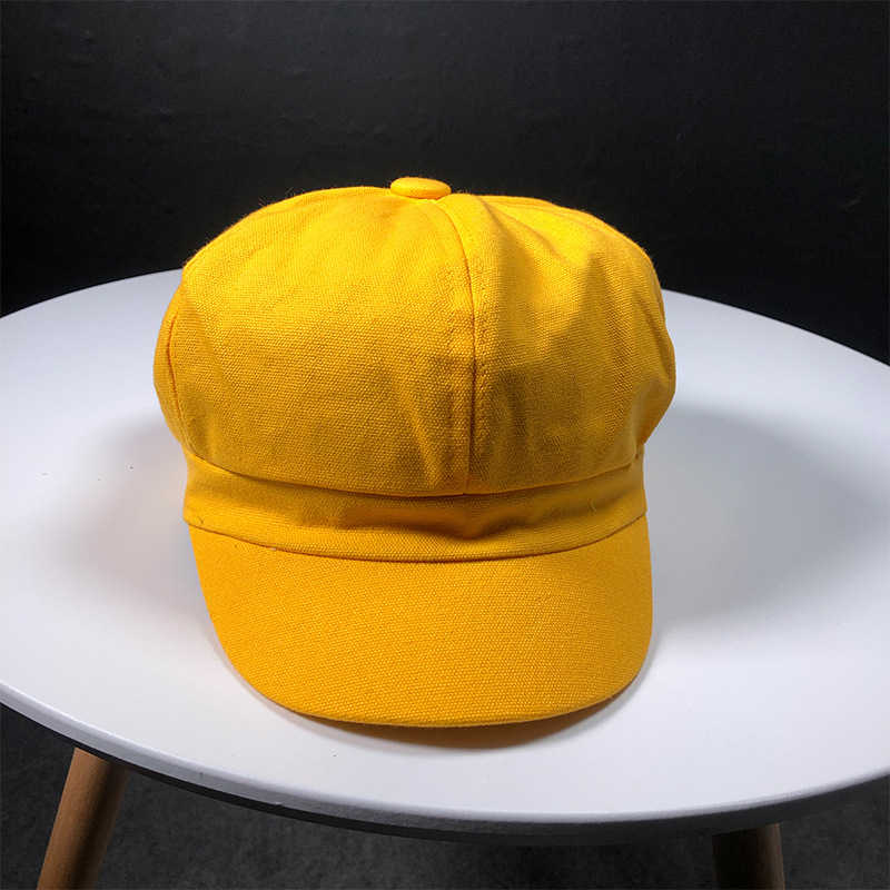 HT1759 جديد الموضة النساء قبعة القبعات الصلبة عادي القبعات الإناث الربيع الصيف السيدات قبعة بيريه صوف كوريا نمط مثمنة قبعات موزع الصحف