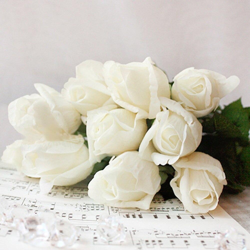 Fake Artificial Decorations Flowers Silk Rose Bouquet Wedding Home ...