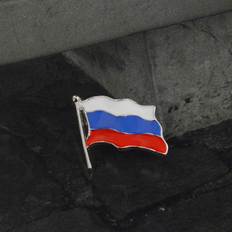 Russia Flag Lapel Pin Bros untuk Pria Wanita Unisex Tas Ransel Topi Aksesoris Rusia Perhiasan