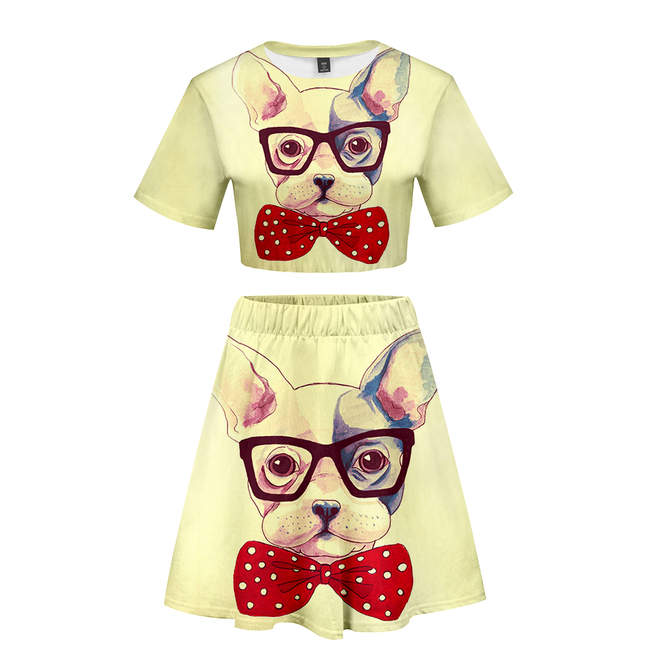 Verantwortlich Französisch Bulldog 3d Gedruckt Frauen Zwei Stück Set Mode Sommer Kurzarm Crop Top + Rock 2019 Heißer Verkauf Trendy Streetwear Kleidung