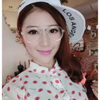 New Women Office Lady Elegant Retro Half Frame Metal Rivets Earrings Glasses Frames Decorative Glasses