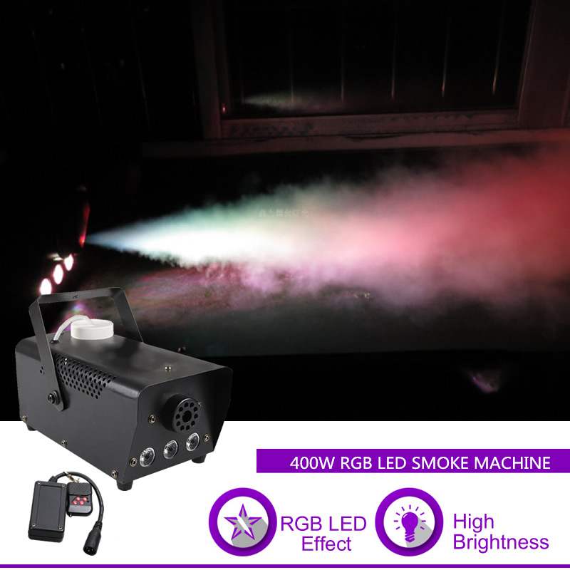 Sharelife Mini 400W RGB LED Portable Remote Control White Smoke DJ Party Show Stage Lighting Effect Fog Machine RGB400