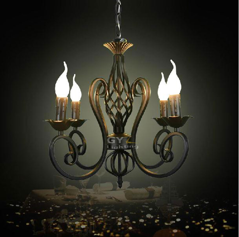 Decoration Art Deco Us 75 Vintage Luminaria Decoration Wrought Iron Lustres Pendant Lights Black Lustre Art Deco Led Hanging Lighting E14 Candle Fixture In Pendant