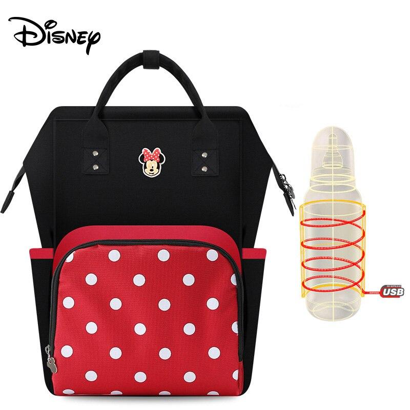 Disney Baby Diaper Bag Waterproof Maternity Nappy Stroller Bag Baby Care Mummy Travel Backpack  Mickey USB Heater Diaper Bag