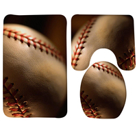 3Pcs Bathroom Mat Set Baseball Sport Macro Ball Pattern Bath Mat Bathroom Anti Slip Bathroom Products
