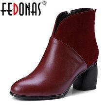 FEDONAS moda marka kadın hakiki deri yarım çizmeler fermuar sıcak sonbahar kış bayan ayakkabı kadın yüksek motosiklet botları