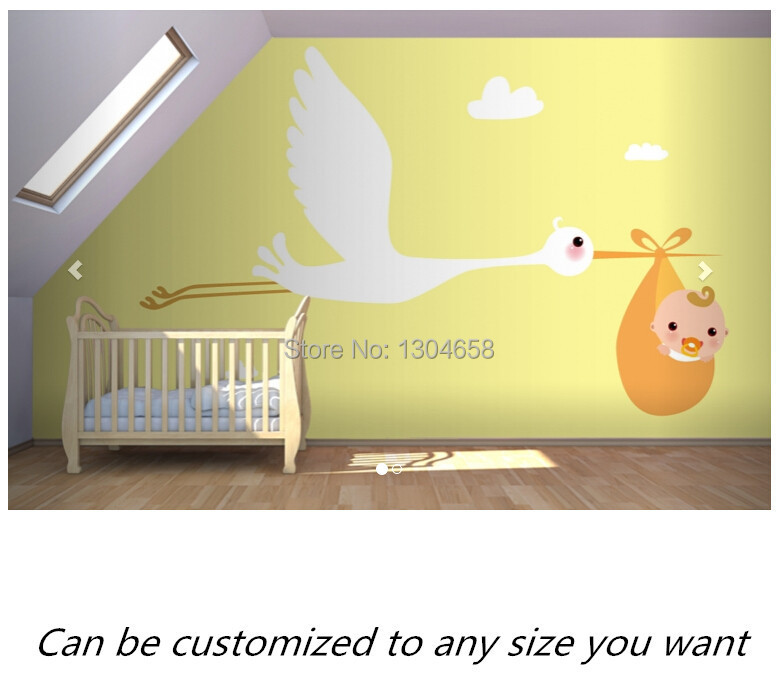 Free shipping custom- modern 3D mural New Born Stork Nursery Wallpaper Murals sofa bedroom TV backdrop wallpaper  free shipping custom 3d mural classic retro modern sofa bedroom tv backdrop wallpaper zebra wallpaper