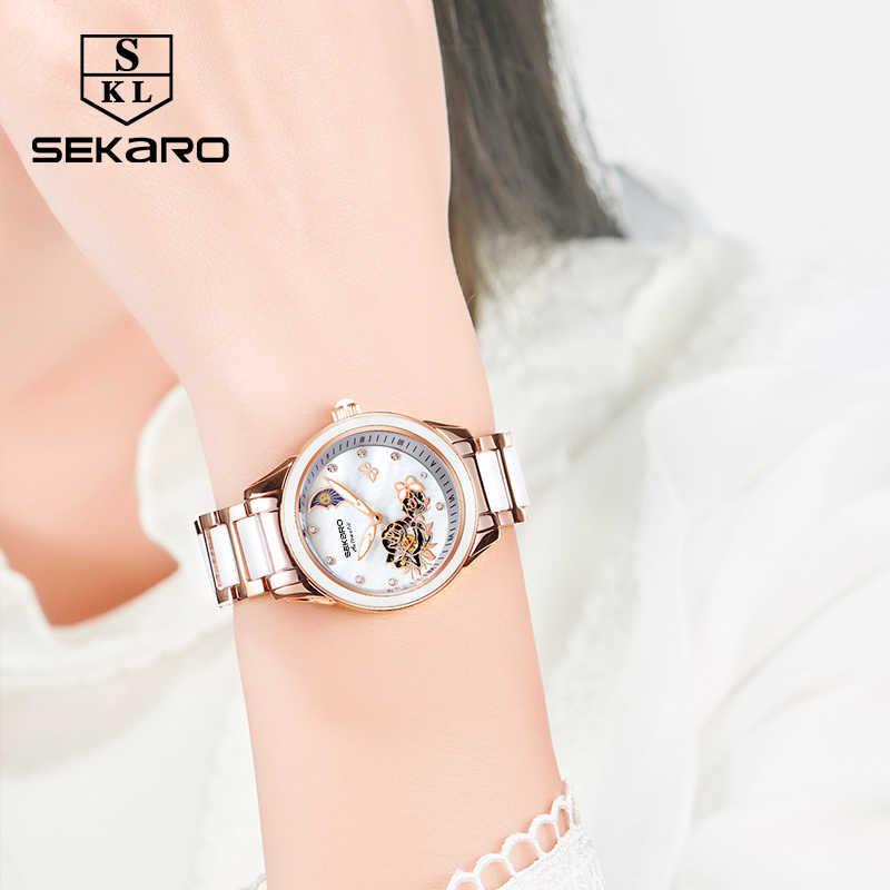 89b28dee ... Sekaro для женщин керамика часы Бабочка Дизайн механические часы лучший  бренд класса люкс сапфировое стекло женский ...