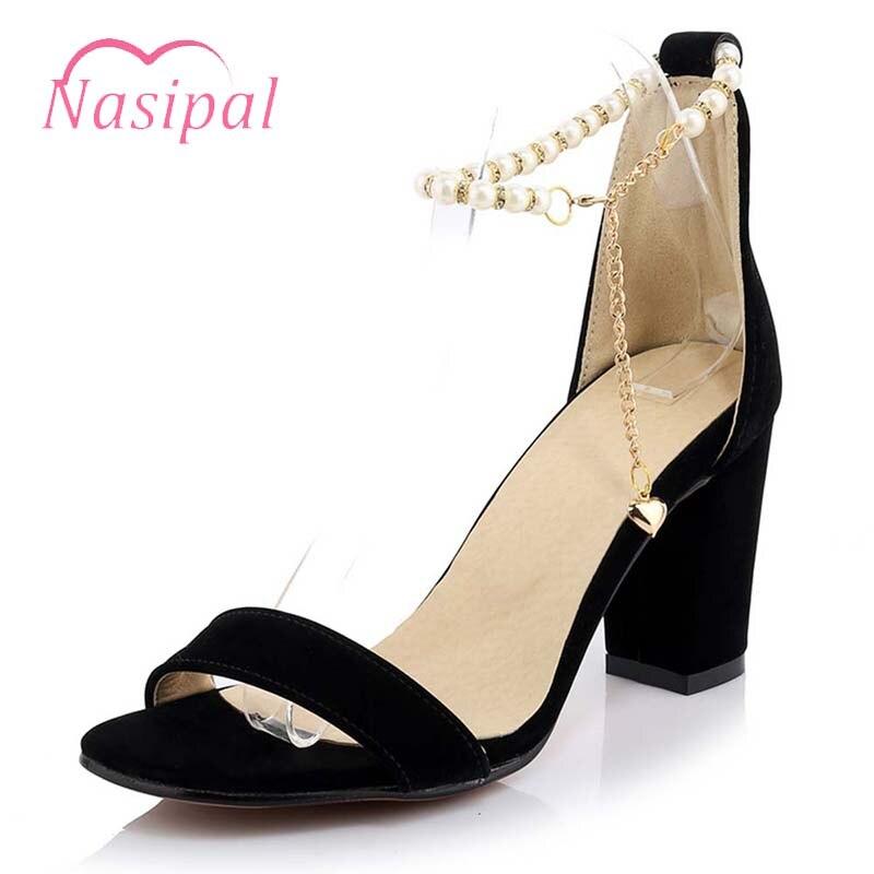 Chunky Wedding Heels: Nasipal Wedding Shoes Chunky Heels String Beading Buckle